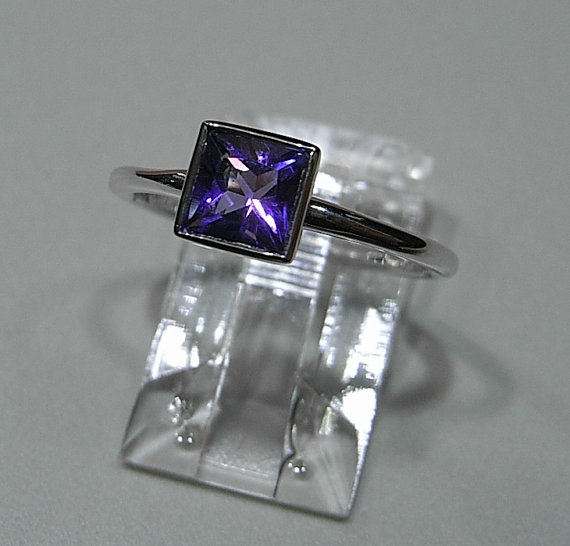 Amethyst Princess Cut Bezel-Set Ring in 14kt White Gold (0.81ct.), Solitare Ring, Purple Amethyst Ring, Square Stone, Stackable Ring.jpg